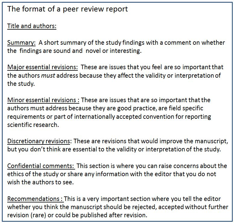 The format of a peer review report