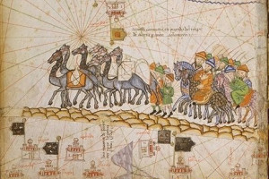 Depiction of a caravan on the Silk Road, one of the early trade routes likely to have popularised the use of Aloe vera