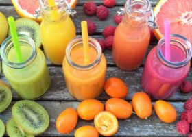 Colourful selection of fruit and beverages