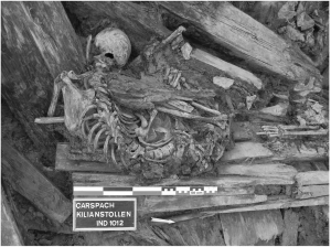 Figure 1 from Le Bailly et al., 2014 . The soldiers recovered during the excavations of ''Kilianstollen'' in Carspach.