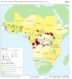 The Atlas of human African trypanosomiasis: progress status. For each country, data processing is considered complete when all available data sources for the study period (2000-2009) have been analysed and included in the HAT database. From: https://www.ij-healthgeographics.com/content/9/1/57