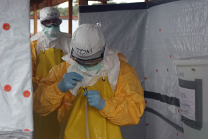 Protective suits worn at CDC Ebola Treatment Units