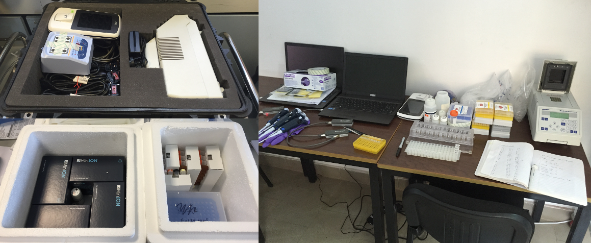 On the left: the lab equipment packed for the trip to Guinea. On the right: the lab set up to analyze Ebola patient samples.