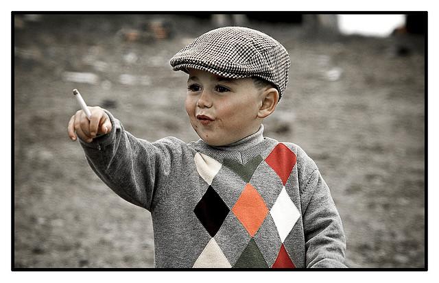 Child with cigarette