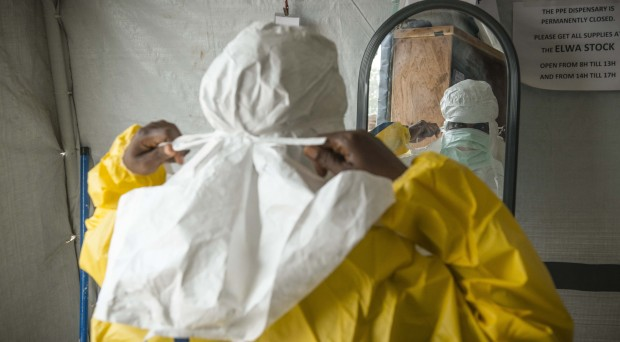 MSF staff member in personal protective equipment