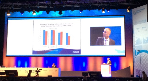 Gottfried Hirnschall of the World Health Organization discusses the draft Global Hepatitis Strategy at the 2015 World Hepatitis Summit.