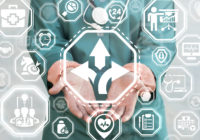 Direction Development Strategy Health Care concept. Doctor offers arrows icon on a virtual screen.
