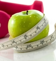 Weights apple and tape measure cropped