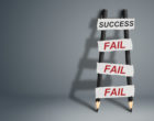 To success through failures creative concept, pencil Ladder with